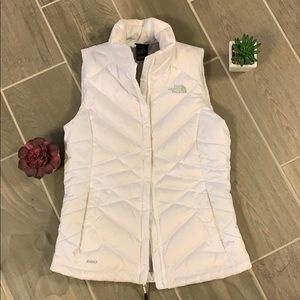 North Face white puff vest xs